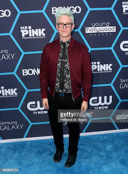 Blogger Tyler Oakley attends the 2014 Young Hollywood Awards brought to you by Samsung Galaxy at The Wiltern on July 27 2014 in Los Angeles California