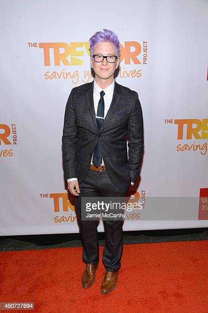 """Blogger Tyler Oakley attends the Trevor Project's 2014 """"TrevorLIVE NY"""" Event at the Marriott Marquis Hotel on June 16, 2014 in New York City."""