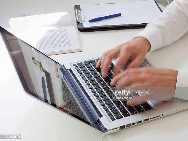 Blogger using laptop