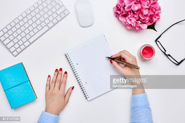 blogger writing in diary against white background - contact list stock photos and pictures