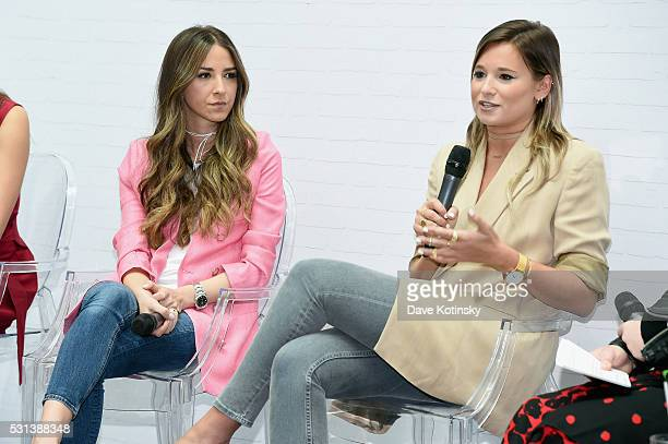 Bloggers Arielle Charnas and Danielle Bernstein speak onstage at the Westfield x Who What Wear Presents Boss Notes at Westfield Garden State Plaza...