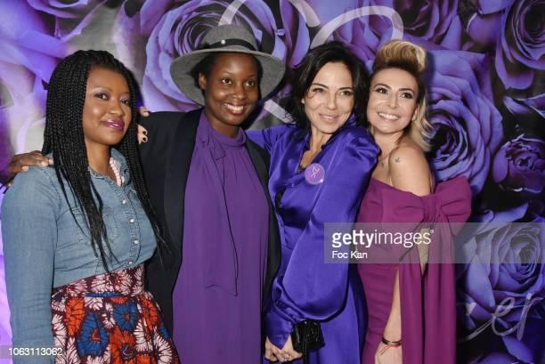 Bloggers A•ssata Kamara from Timodelle Elisa Les Bons Tuyaux Geneticancer president Laetitia Mendes and Sandra Sisley attend 'Geneticancer' Auction...