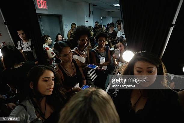 Bloggers attend backstage Band Of Outsiders show on September 2016 New York Fashion Week The Shows at The Gallery Skylight at Clarkson Sq on...