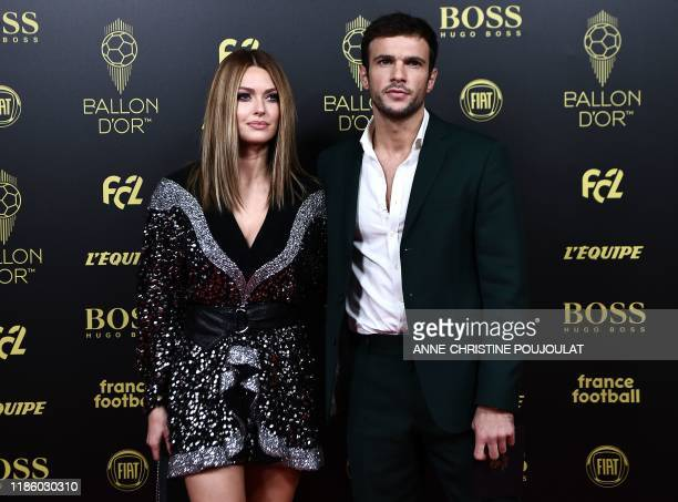 Bloggers Caroline Receveur and Hugo Philip arrive to attend the Ballon d'Or France Football 2019 ceremony at the Chatelet Theatre in Paris on...