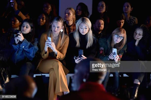 Bloggers Danielle Bernstein and Serena Goh and designer Nicole Miller attend the Laquan Smith front row during New York Fashion Week The Shows at...