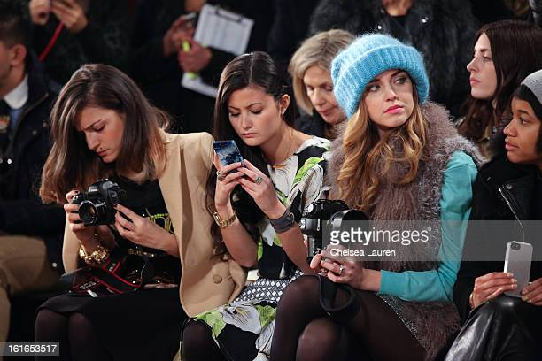 Bloggers Eleonora Carisi Peony Lim Chiara Ferragni and Tamu McPherson attend the Philosophy By Natalie Ratabesi fall 2013 fashion show during...