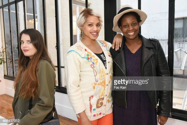 Bloggers Elvine Raimondi from isulablue Kevhoney Scarlett from a week a style and Elisa from Les Bons Tuyaux attend La Maison Rolland Garros Press...