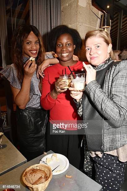 Bloggers Kevhoney Scarlett from A week a style Elisa from Elisa Les Bons Tuyaux and Alina from Les folies d'Alina attend 'Apero Milk' Hosted by Grand...