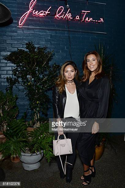 Bloggers Marianna Hewitt and Devin Brugman attend the Bollare 10 Year Anniversary Dinner Celebration at Palihouse West Hollywood on March 29 2016 in...