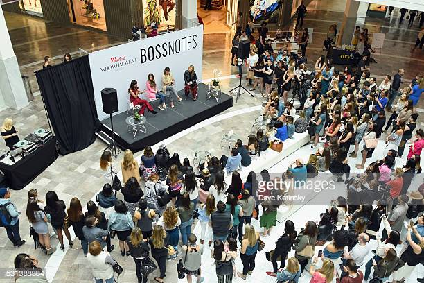 Bloggers Natalie Suarez Arielle Charnas and Danielle Bernstein speak with Hillary Kerr onstage at the Westfield x Who What Wear Presents Boss Notes...