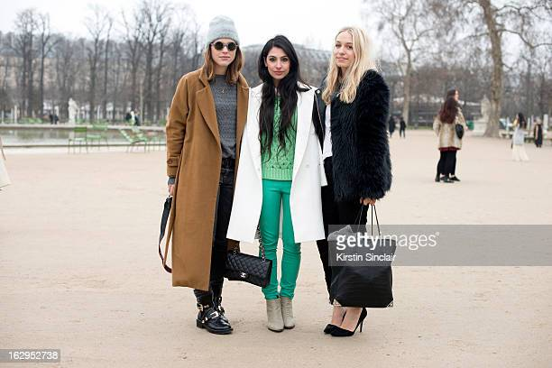 Bloggers Sabrina Meijer Anna Nooshin and Jara Michels on day 2 of Paris Womens Fashion Week Autumn/Winter 2013 on March 1 2013 in Paris France