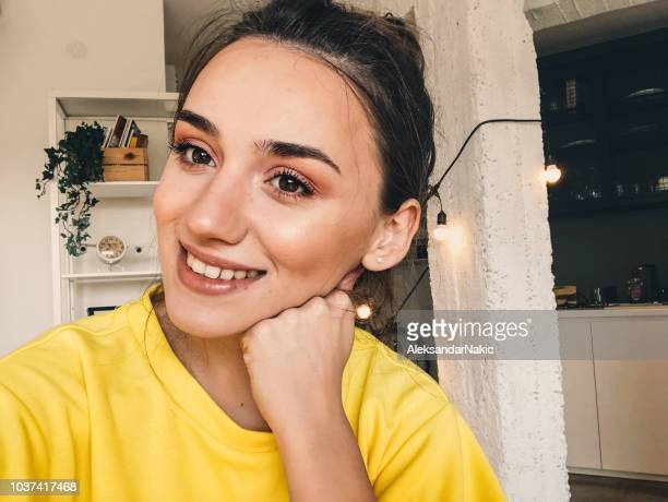 blogger's selfie - one young woman only stock pictures, royalty-free photos & images
