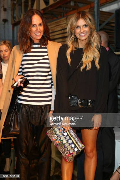 Bloggers Tash Sefton and Elle Ferguson attend the Alex Perry show during MercedesBenz Fashion Week Australia 2014 at Carriageworks on April 7 2014 in...