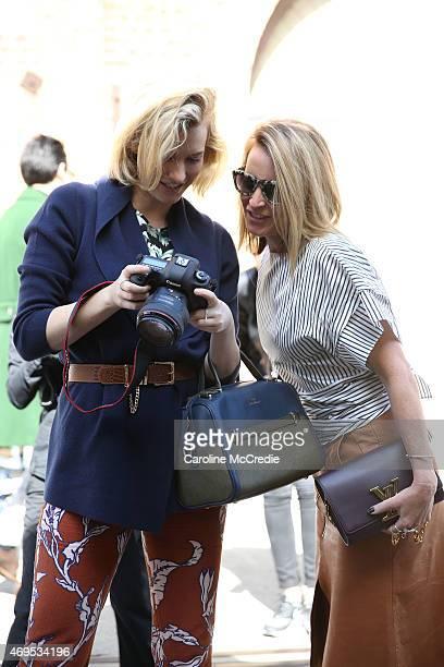 Bloggers Zanita Whittington and Mandy Shadforth attend MercedesBenz Fashion Week Australia 2015 at Carriageworks on April 13 2015 in Sydney Australia