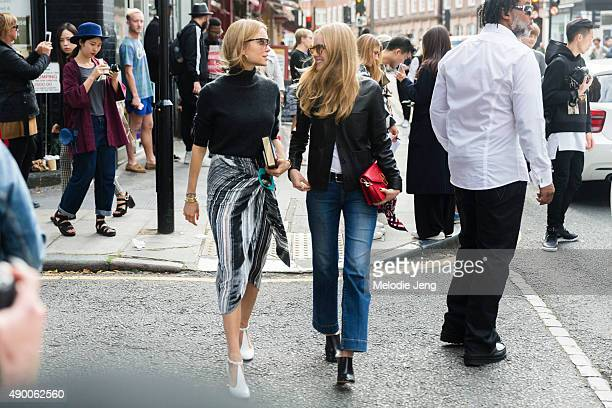 Blogger/Stylist Pernille Teisbaek and Rika Magazine Fashion Director Alexandra Carl exit the JW Anderson show during London Fashion Week Spring...