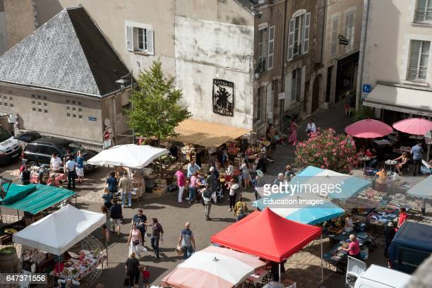 Blois France An overview of the weekly food market in the town center of Blois in the Loire region of France