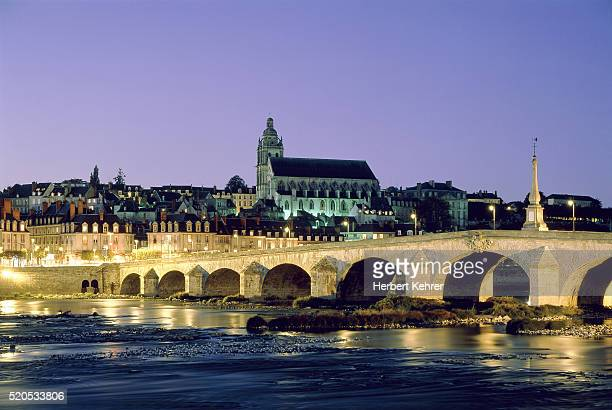 Blois with bridge across the Loire river in the evening (Centre, France)