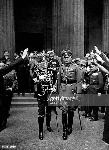 Blomberg Werner von Officer Field Marshal General GermanyVon Blomberg with August von Mackensen at the cenotaph Neue Wache in Berlin 1934...