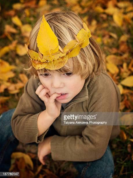 Blond boy putting on her head crown
