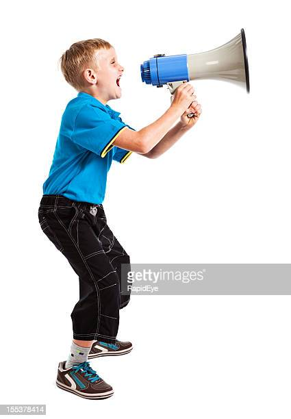 Blond boy shouting into loud hailer: isolated on white