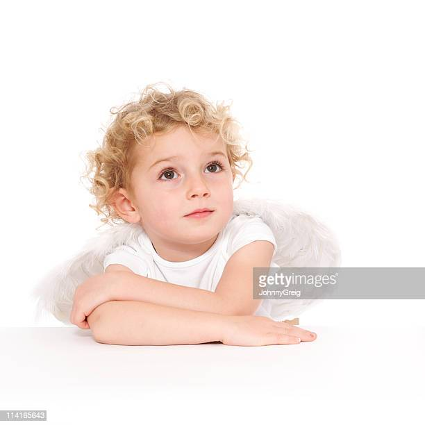 a blond, curly headed child posing as cherub with wings.  - cherub stock pictures, royalty-free photos & images