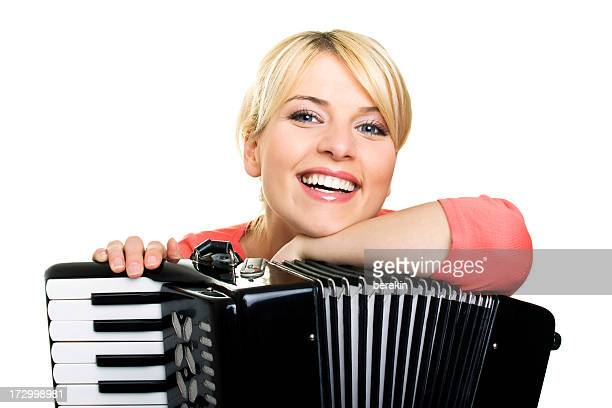 Blond girl with an accordion