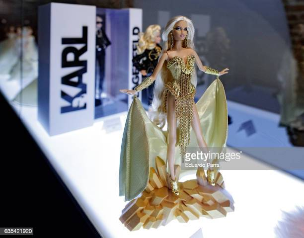 A blond gold barbie doll is seen on display at the exhibition 'Barbie mas alla de la muñeca' at Fundacion Canal on February 15 2017 in Madrid Spain