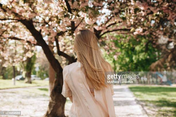 blond haired woman by blossoming trees - blonde hair stock pictures, royalty-free photos & images