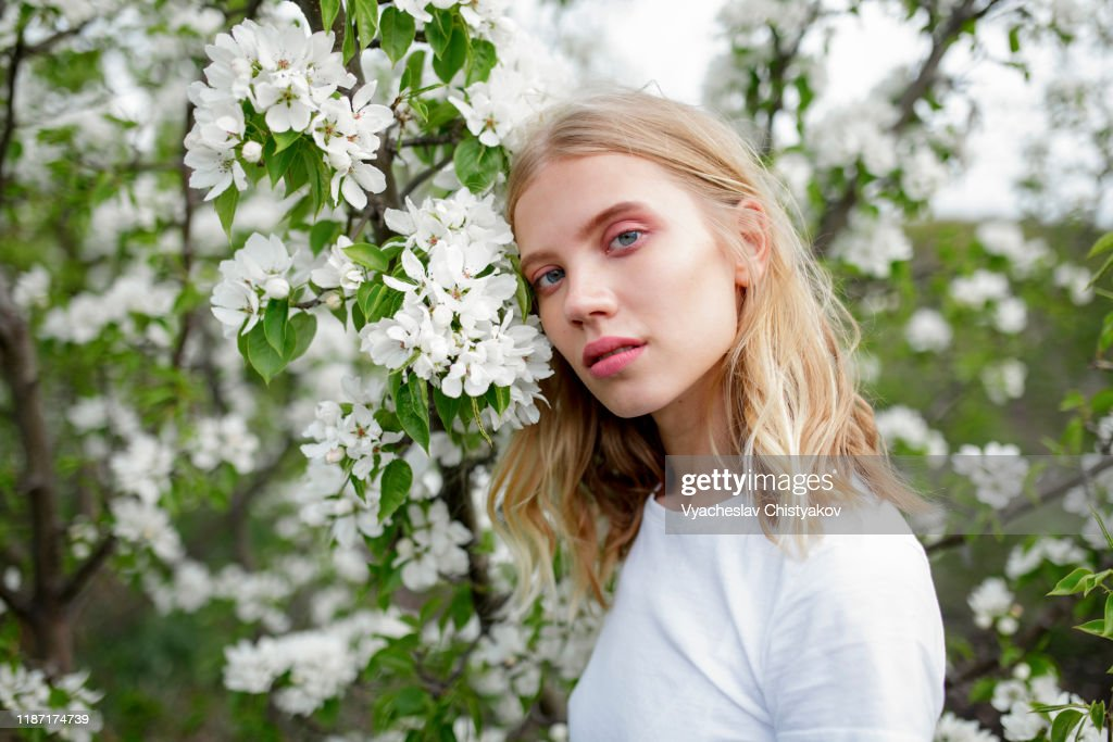 Blond haired young woman among white blossoms : Stock Photo