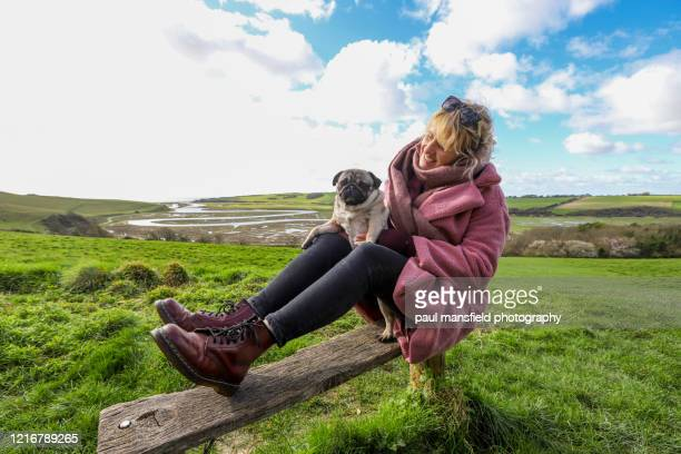 "blond lady and pug sitting on bench at cukmere haven - ""paul mansfield photography"" stock pictures, royalty-free photos & images"