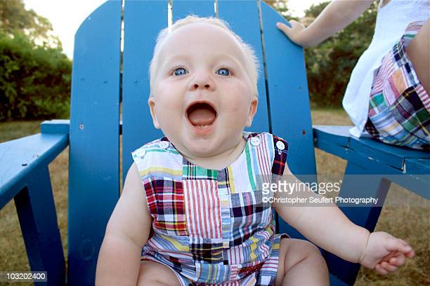 Blond Little Boy in Madras Suit