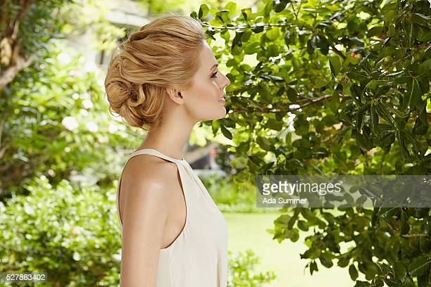 Blond woman in a white dress