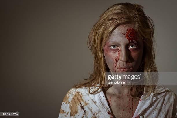 blond zombie - zombie makeup stock photos and pictures