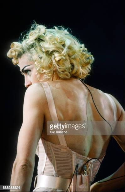 Blonde Ambition Tour Madonna Feyenoord Stadion De Kuip Rotterdam Holland She is wearing a Jean Paul Gaultier conical bra corset