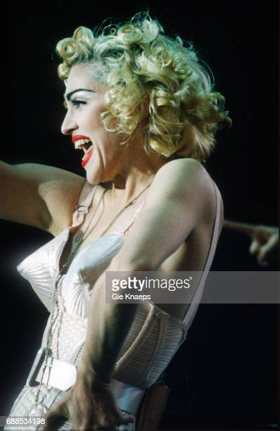 Blonde Ambition Tour, Madonna, Feyenoord Stadion, De Kuip, Rotterdam, Holland, . She is wearing a Jean Paul Gaultier conical bra corset.