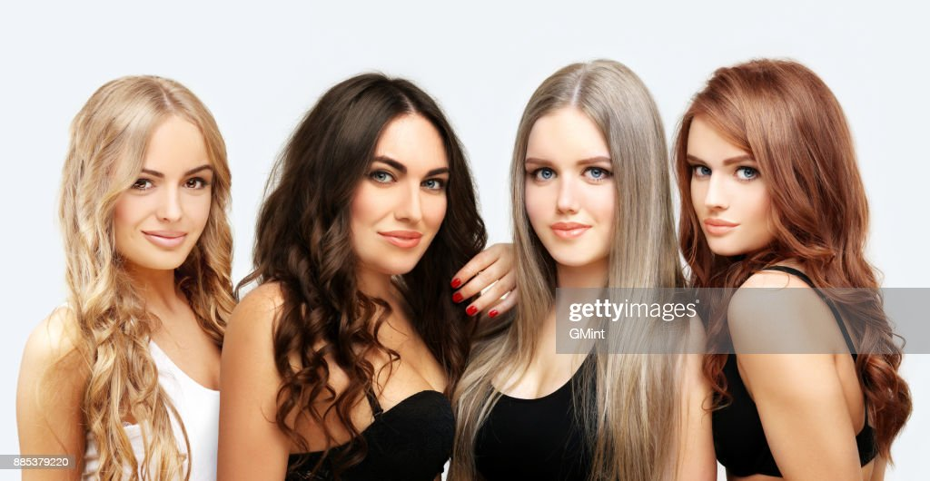 Blonde and brunette.Concept Coloring Hair : Stock Photo