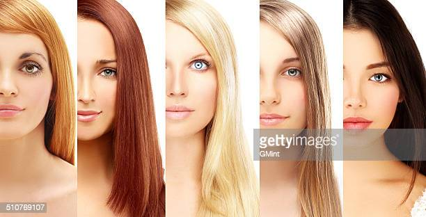 blonde and brunette.white background - colouring stock photos and pictures