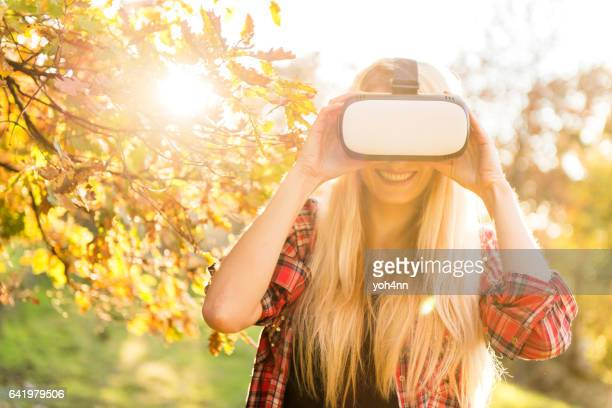 Blonde attractive woman & Vr