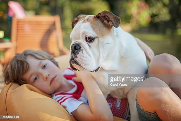 blonde boy and bulldog - english bulldog stock pictures, royalty-free photos & images