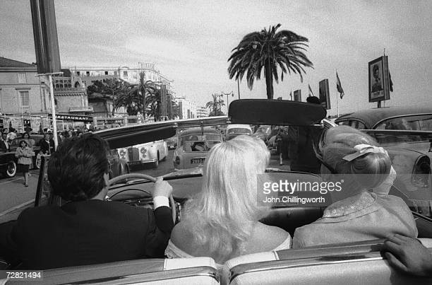 Blonde British actress Diana Dors arrives at the Cannes Film Festival, 3rd May 1956. Original Publication : Picture Post - 8396 - Diana - Queen Of...