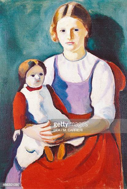 Blonde girl and doll painting by August Macke 55x77 cm
