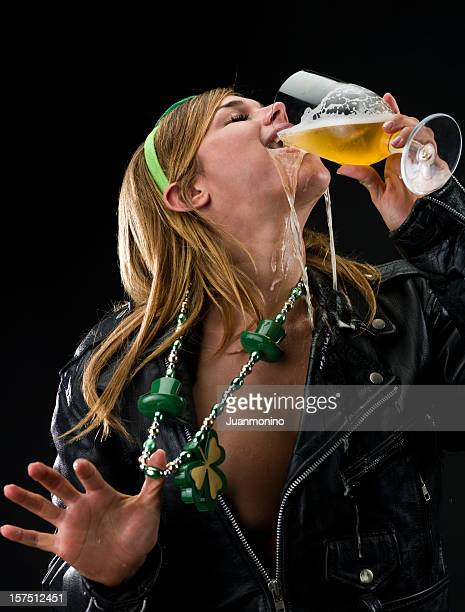blonde girl drinking beer - drunk woman stock photos and pictures