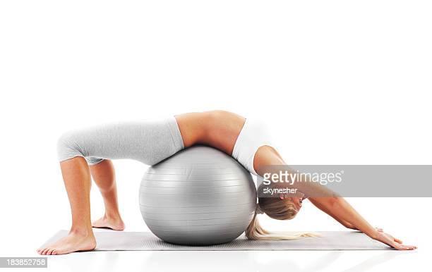 Blonde girl exercise Pilates.