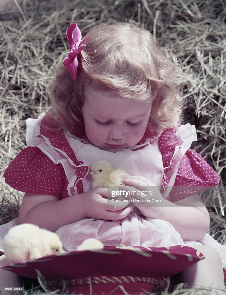 c743e0ae82b81 Blonde girl sitting in hay holding a baby chick with a cowboy hat ...