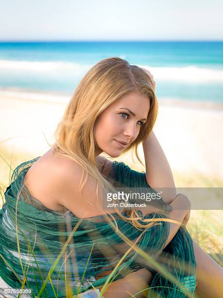 Blonde hair model at the beach