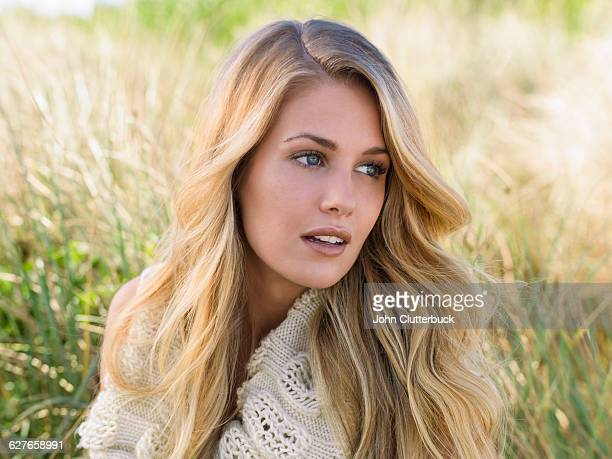 blonde hair model in seagrass