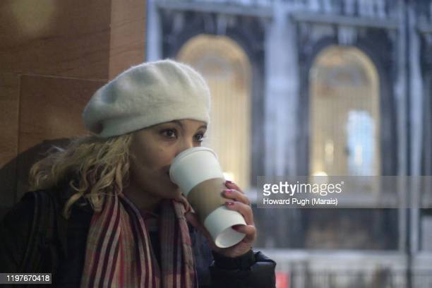 blonde in white wooly cap (beret) - howard pugh stock pictures, royalty-free photos & images