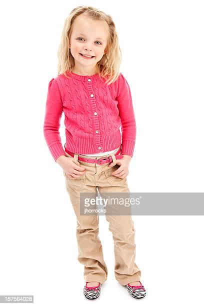 ブロンド少女ピンクのセーター