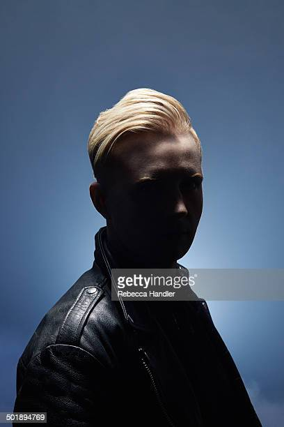blonde male wearing leather jacket