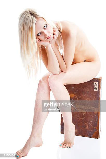 blonde naturist on holiday - old nudists stock pictures, royalty-free photos & images
